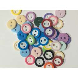 10 Boutons rond 11 mm 2 trou Multicolore Scrapbooking Mercerie