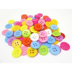 lot de 10 Boutons rond 15 mm env. 4 trou Multicolore Scrapbooking Mercerie