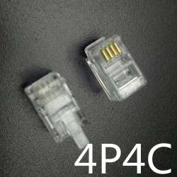 Lot 1- 50 RJ9 Connecteur telephonique 4pins 4P4C generique 4/4 Male Transparent