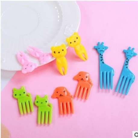 10 fourchette plastique Enfant Animal aliment Fruit cure dent décoration animé
