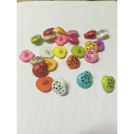 lot 20 boutons 14mm coccinelle melange couture mercerie scrapbooking